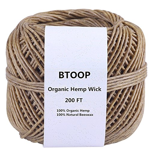 BTOOP-Hemp-Wick-Spool-200-Ft-100-Organic-Hemp-with-Natural-Beeswax