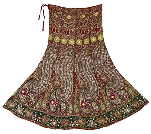 Vintage Main Perles de marie Femmes Net Lehenga Utilis en Tissu Noir Jupe Longue Rouge Rouge Fonc