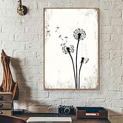 Framed Canvas Wall Art for Living Room, Bedroom Dandelion Illustration Canvas Prints for Home Decoration Ready to Hang - 16x24 inches