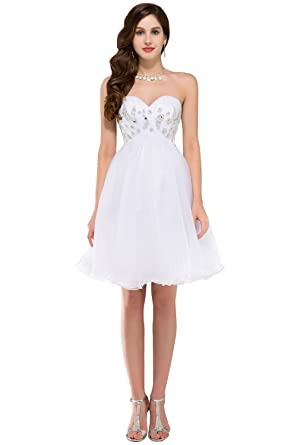 Sunvary Designer Wedding Dress Strapless Short-Length Pure White For ...