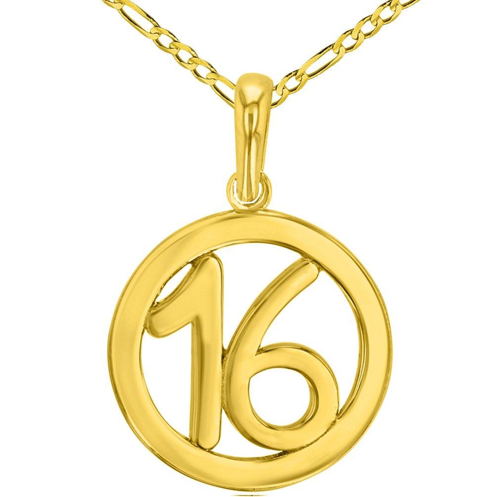 ソリッド14 Kイエローゴールドラウンド数16個チャームペンダントwithフィガロチェーンネックレス B07DD4WML3 16.0 インチ