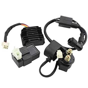 GOOFIT Ignition Coil AC CDI Voltage Regulator Rectifier Relay Kit for  CG150cc 200cc 250cc Vertical Engine Chinese ATV
