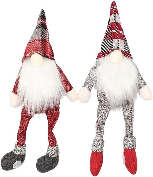 Christmas Red Wine Bottle Cover Sitting Long Leg Elf Xmas Dinner Table Decor