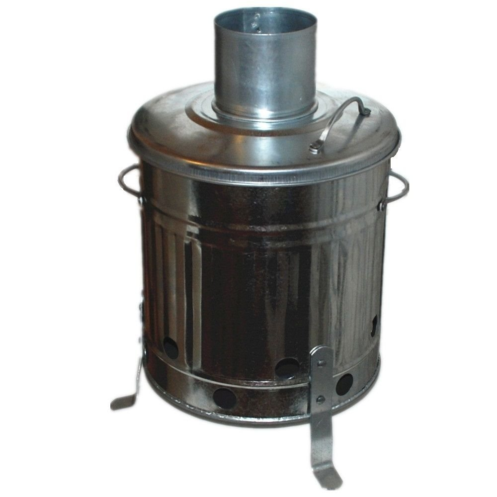 15L Mini Garden Incinerator Small fire Bin Galvanised 15 Litre Burning Wood Parasene