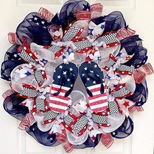 b7d1e0680 Image Unavailable. Image not available for. Color  Patriotic Flip Flop  Beach Handmade Deco Mesh Wreath