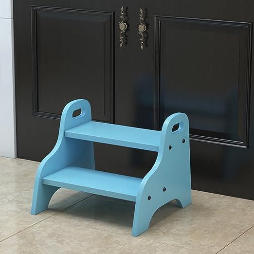 DS taburete Escalera de Taburete de Madera de 2 Pasos para niños pequeños Herramienta de baño de Madera pequeños taburetes de pie para niños Escaparate de Flor de Interior portátil para niños **:
