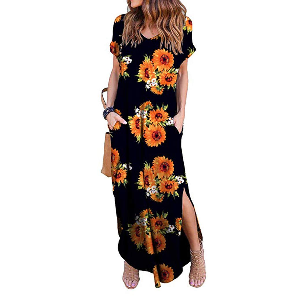 LIEJIE Casual Short Sleeve Printing Vintage Gown Long Culb Evening Party Dress Printed Swing Dress