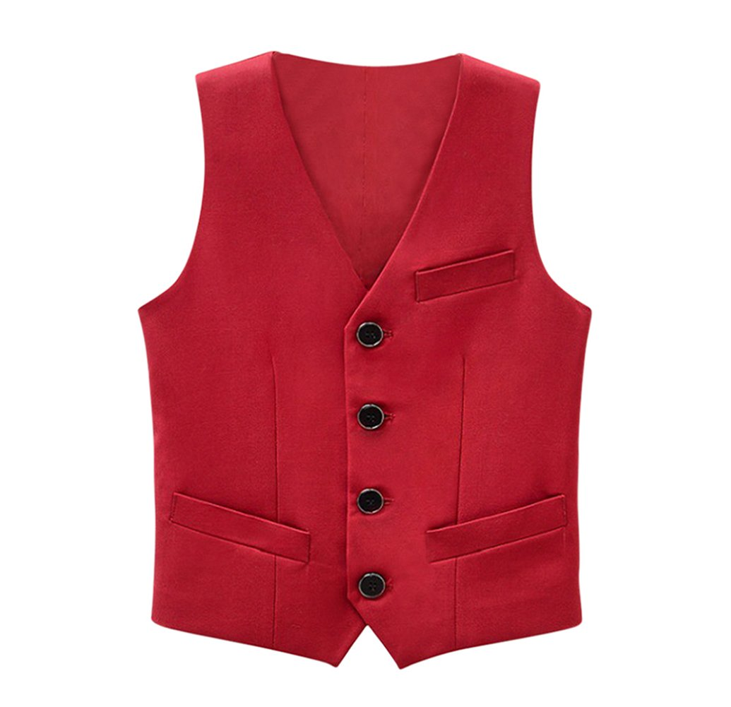Tortor 1Bacha Kid Boys' Special Occasion Solid Tuxedo Vest Waistcoat Red 7-8 Years
