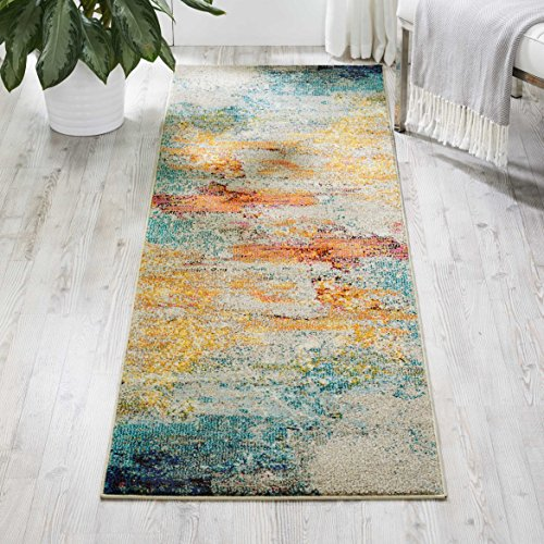- Nourison Celestial Modern Abstract Area Rug Runner, 2'2