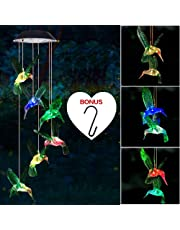 Wind Chime, Solar Hummingbird Wind Chimes Outdoor/Indoor(Gifts for mom/momgrandma Gifts/Birthday Gifts for mom),Outdoor Decor,Yard Decorations,Memorial Wind Chimes,Best mom Gifts