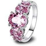 LingMei Oval Cut 10*8 mm Cz Created Pink Stone Beauty Women's Ring