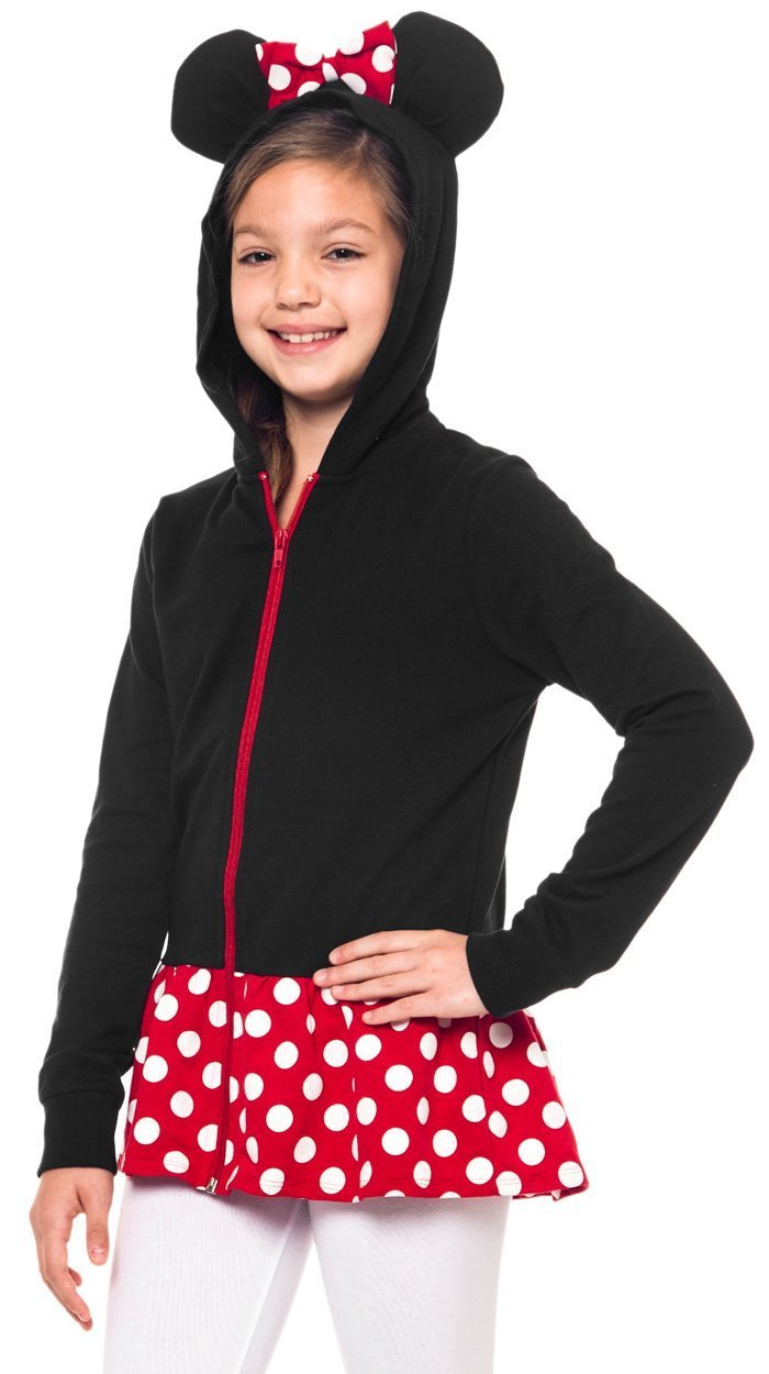Disney Minnie Mouse Girls Sweatshirt Zip Jacket Costume Ears Ages 4-12 (Small)