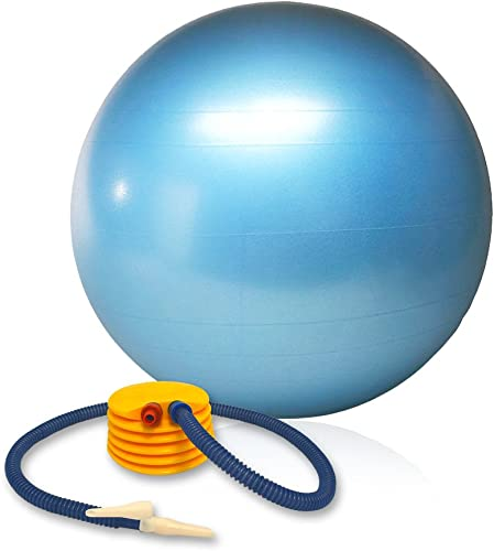 Balance Ball with Foot Pump and Training Guide Burst-Resistant, 55 cm
