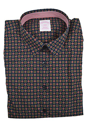 Brooks Brothers Womens Tailored-Fit Cotton Dress Shirt Navy Blue Printed (4) (Brooks Brothers Womens Shirts)