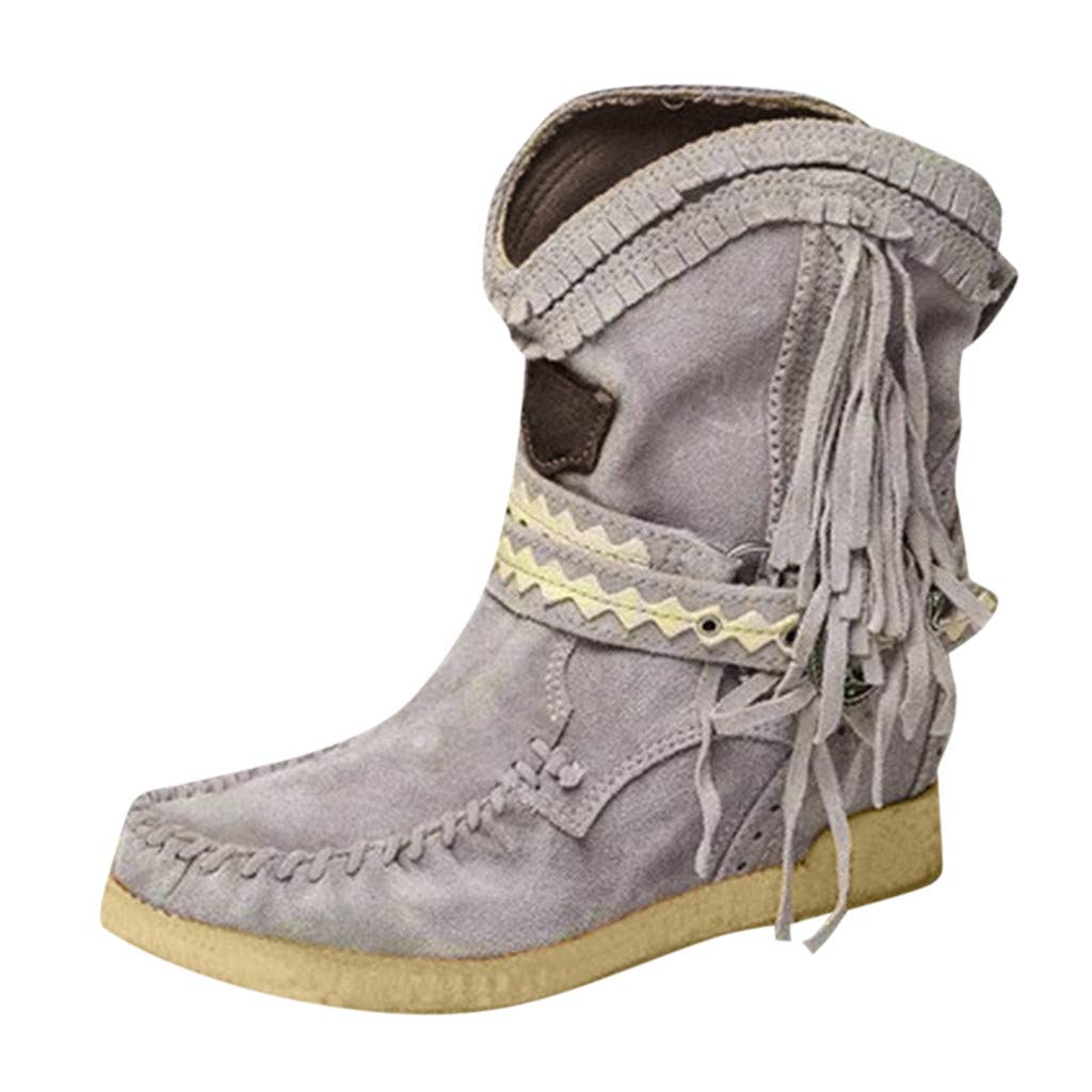 Fheaven Women's Fashion Tassel Casual Round Toe Rome Retro Fringe Straps Short Ankle Boots Flat Shoes Grey by Fheaven-shoes