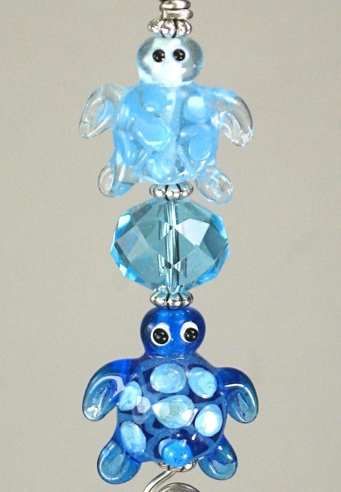 Turquoise Blue Lampwork Glass Turtles Ceiling Fan Pull