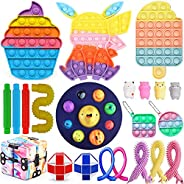 Fidget Toys Pack ,Push Bubble Fidget Toys Pack,Stress Relief Toy Set for Adult Decompression and Anti-Anxiety