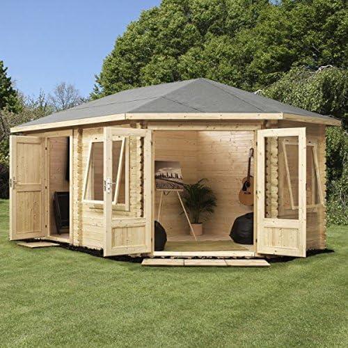 Cabaña de madera Nova con cobertizo, orientada a la derecha, 5 x 3 ...