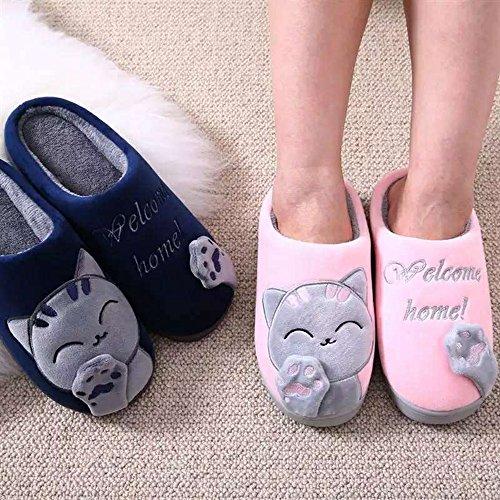 delicate JACKSHIBO Femmes Hiver Doux Lovely Chat Pantoufles Peluche Chaudes Chaussons Fille Confortable Coton Slipper