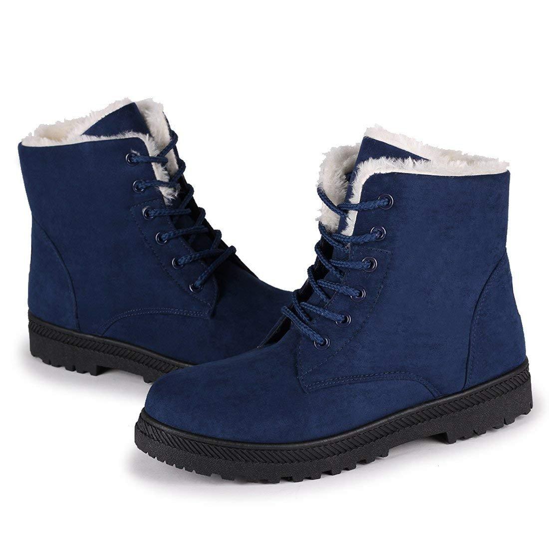 Susanny Suede Flat Platform Sneaker Shoes Plus Velvet Winter Women's Lace up Blue Cotton Snow Boots 5 B (M) US