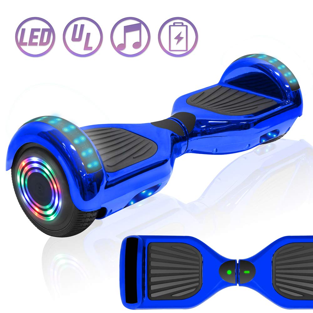 NHT Chrome Edition Self Balancing Hoverboard Scooter with LED Lights and Speaker UL2272 Certified (Chrome Blue) by NHT