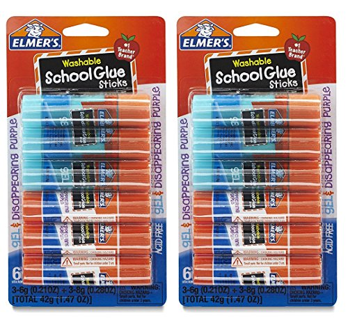 - Elmer's Washable School Glue, 6 Gel & 6 Disappearing Purple, 12 total sticks.