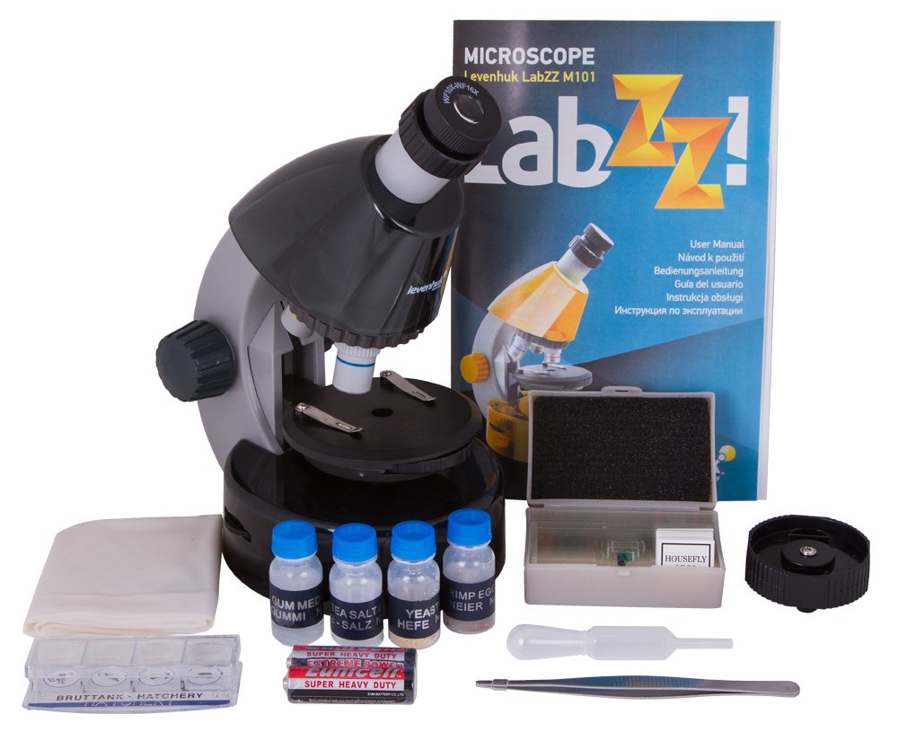 Levenhuk LabZZ M101 Moonstone Microscope for Kids with Experiment Kit - Choose Your Favorite Color by Levenhuk