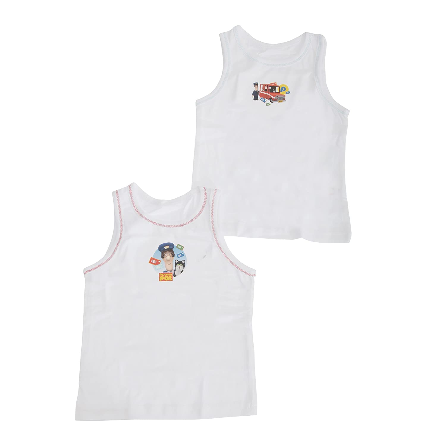 Postman Pat Childrens Boys Official Cotton Vests (Pack Of 2)