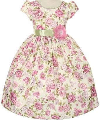 448543ebc9c Little Girls Cap Sleeve Flower Print Jacquard Easter Flowers Girls Dresses  Lavender 2