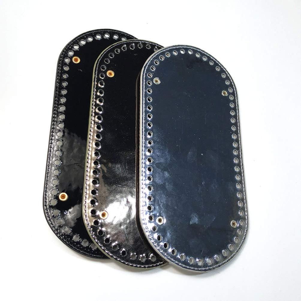 /Überzug Schwarz Exceart Taschenboden Pu Leder Oval Lang Stricken H/äkeltasche Kissen Basis mit L/öchern f/ür DIY Handwerk N/ähen Geldb/örse Tasche Machen Liefert