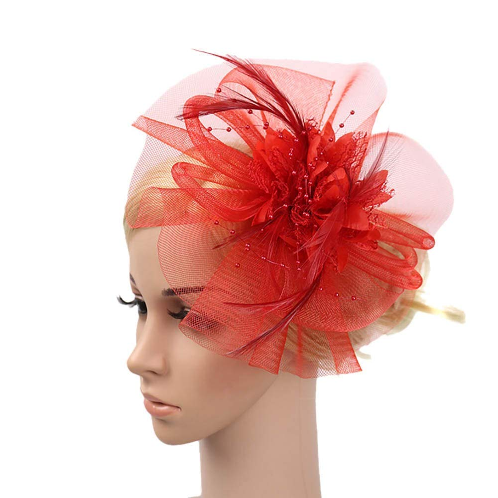 Allywit Fascinators Hat Cocktail Tea Party Headwear Flower Feathers Headband Clip for Girls and Women