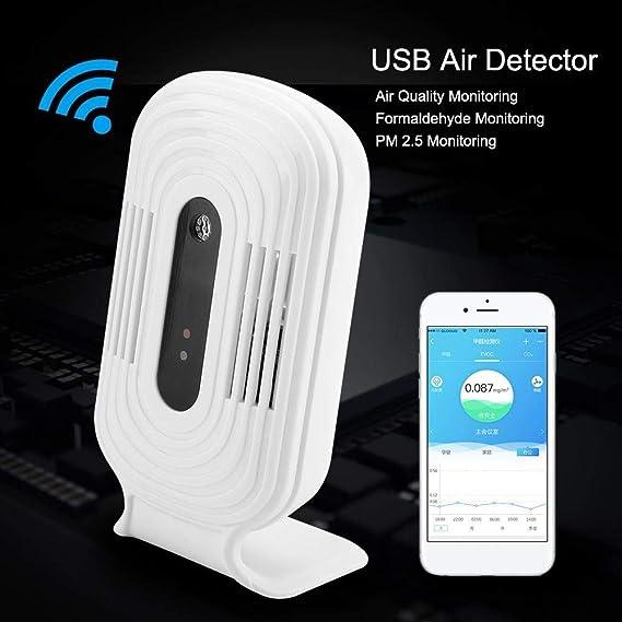LDRAGON Monitor de Calidad de Aire formaldehído (HCHO) Detector, C02/PM 2.5/Temperatura y Humedad Alta precisión Multifuncional analizador de Gas con USB ...