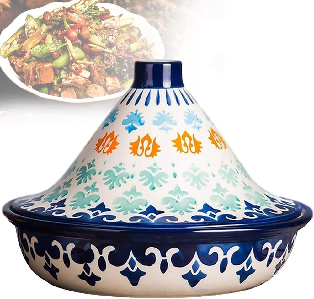 Tagine Pot Hand Painted Ceramic Moroccan Tagine Pot Lead Free for Cooking and Stew Casserole Slow Cooker Tajine Cooking Pot with Lid 1.4 Quart