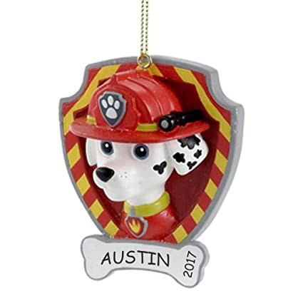 personalized paw patrol kids christmas ornament marshall