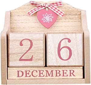 LANGUGU Novelty DIY Wooden Blocks Daily Perpetual Desk Calendar Photography Props Christmas Crafts Home Office Decoration (Pink)