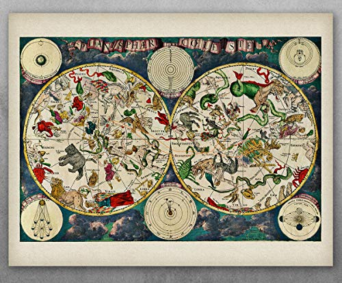 Poster - Planisphere Celeste Map - Zodiacs of the Night Sky - Choose Unframed Poster or Canvas - Makes a Great Vintage Home Decor ()