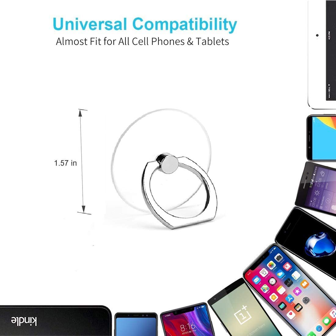 Cell Phone Ring Holder Transparent Phone Ring Holder 360/°Rotation Finger Ring Stand Phone Ring Grip Compatible with Almost All Phones//Phone Cases Round
