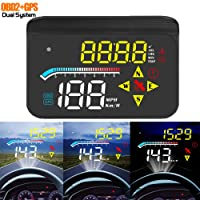 ACECAR Head-up Display,Upgrade Car HUD 3.5'' Dual Mode OBD2/GPS Windshield Projector with Speed,Digital Clock,Overspeed Warning,Mileage Measurement,Water Temperature,Direction,for All Vehicles