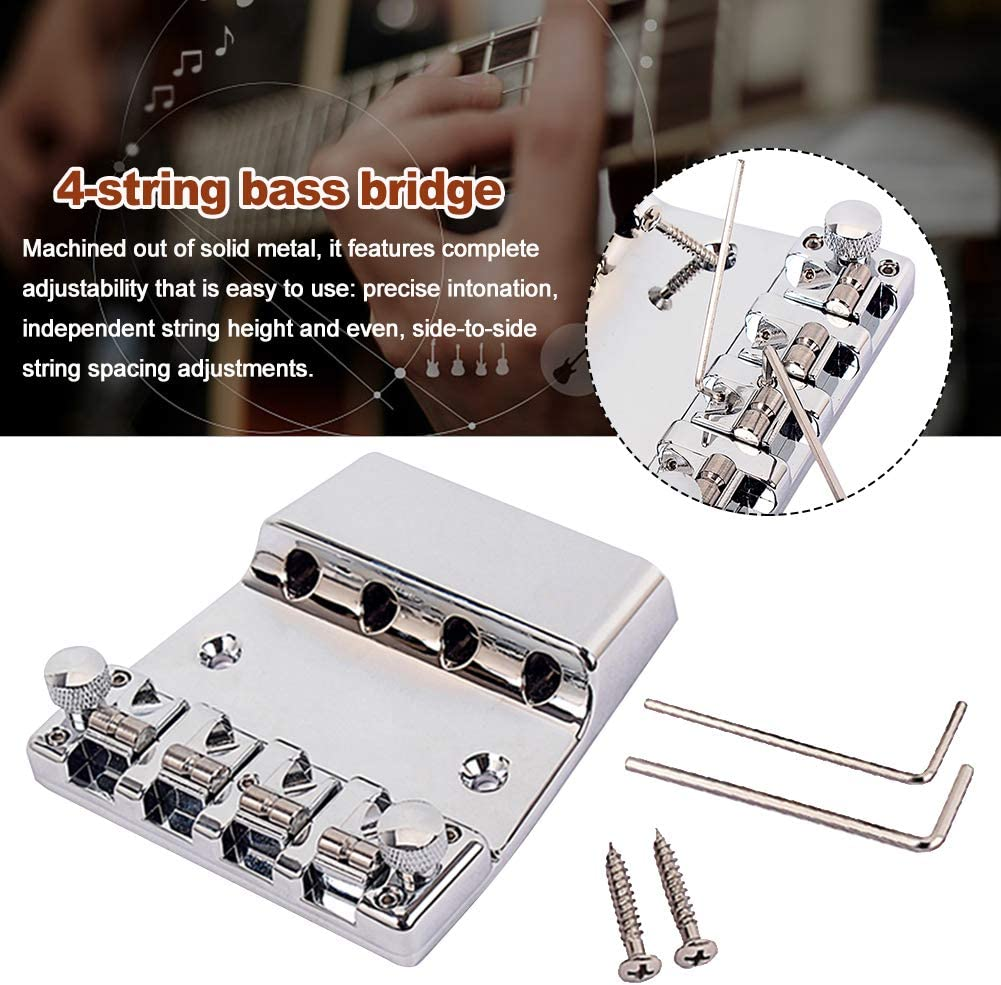 NINEFOX Bass Bridge,4-String Bass Bridge,Electric Guitar Bass Bridge Repair with Wrench 4 String Accessories Metal for American Vintage Jazz Bass,Small