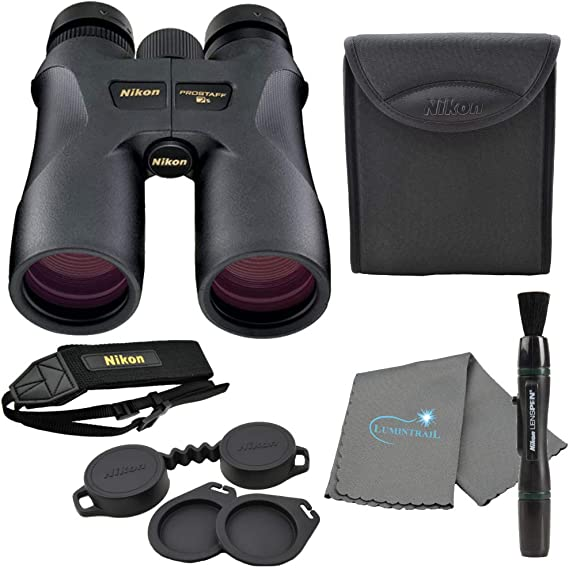 Nikon 16003 10x42 ProStaff 7S Binoculars All-Terrain Waterproof and Fogproof (Black) Bundle with Nikon Lens Pen and Lumintrail Cleaning Cloth