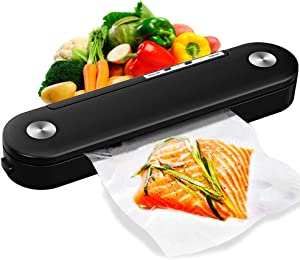 Food Vacuum Sealer Machines, Automatic Food Sealer Air Sealing System for Food Savers with Compact Design Dry Moist Food Modes,Portable Heat Sealer for Food Savers(10pcs Vacuum Sealing Bags)