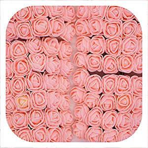 Memoirs- 36/72/144Pcs 2Cm Decorative Teddy Bear Rose Pe Foam Artificial Flower Bouquet for Home Wedding Decoration DIY Wreath Fake Flower,Peach,72Pcs 68