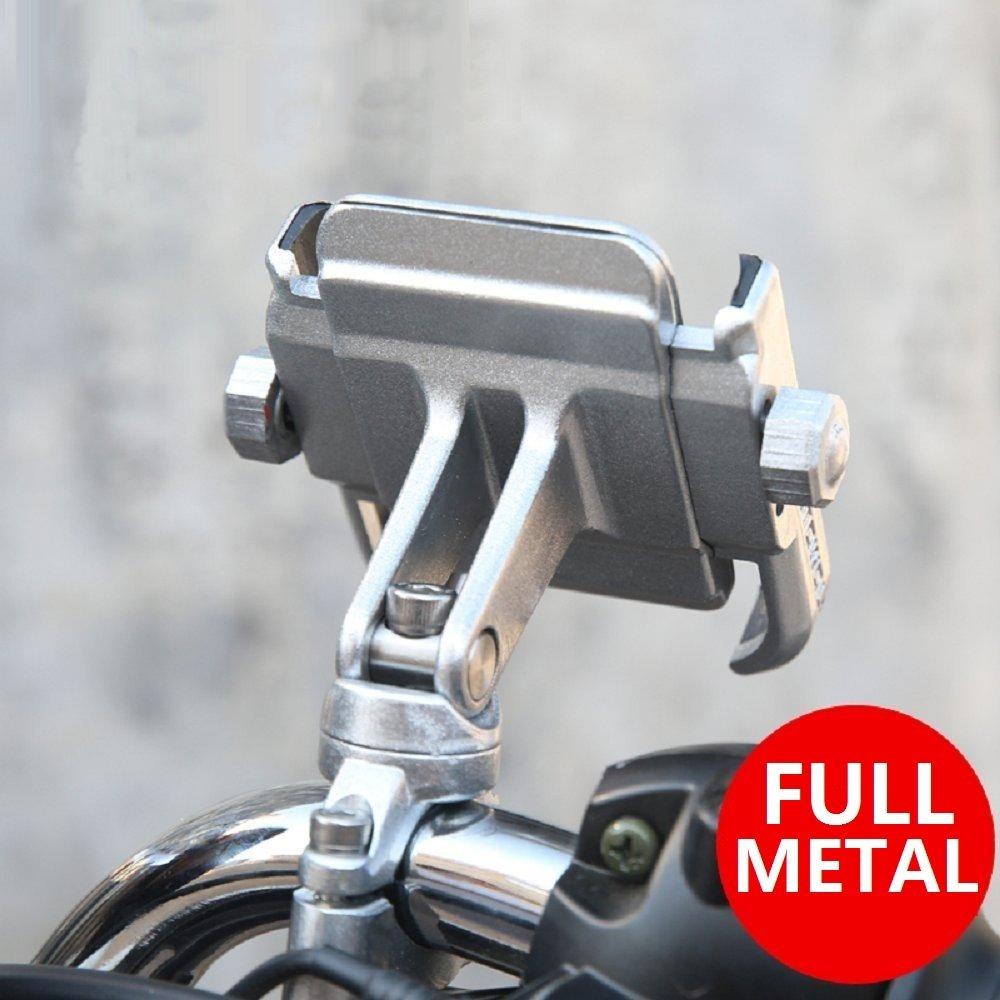 NikoMaku Bike Motorcycle Phone Holder Phone Mount Metal Aluminum Handlebar Holder 360° Adjustable Compatible With 4-6.8 inches Mobile Phone, Iphone Samsung Blackberry etc. (silver)
