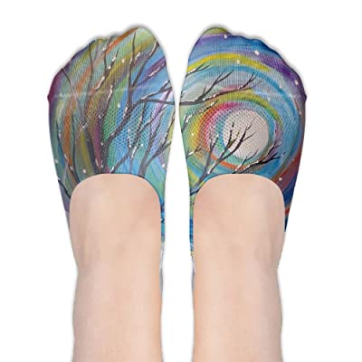 The Bleak Scenery Pattern Like Winter Trees DIY Printed Pattern Comfortable Low Cut Socks No-show Liner Invisible Polyester Cotton Sock For Female (One Pair)