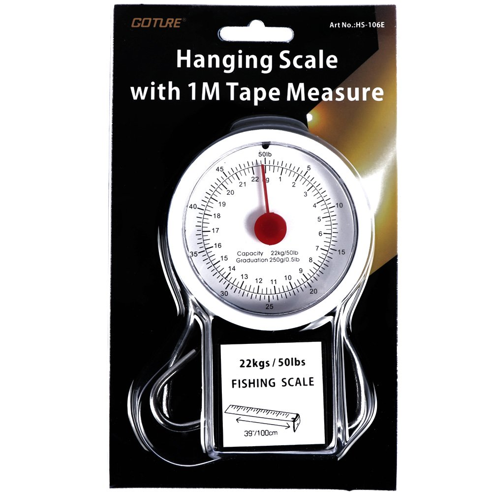 YOGAYET Portable Fishing and Luggage Hanging Hook Multi-Purpose Scale With Tape Measure Max Weight 50lb/22kg