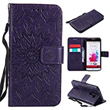 LG G3 Case, Mellonlu Premium PU Leather Flip Wallet Magnetic Card Slots with Wrist Strap Protective Case Cover for LG G3