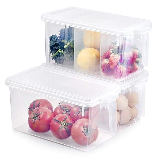 Organizador de nevera para congelador, 3 juegos de cajas apilables ...