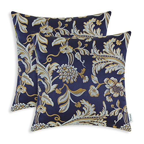 CaliTime Pack of 2 Throw Pillow Covers Cases for Couch Sofa Home Decor Vintage Floral Leaves 20 X 20 Inches Navy Blue Review