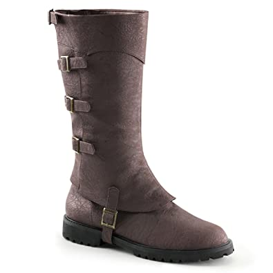 Amazon.com | Mens Convertible Brown Knee High Boots with Buckle ...
