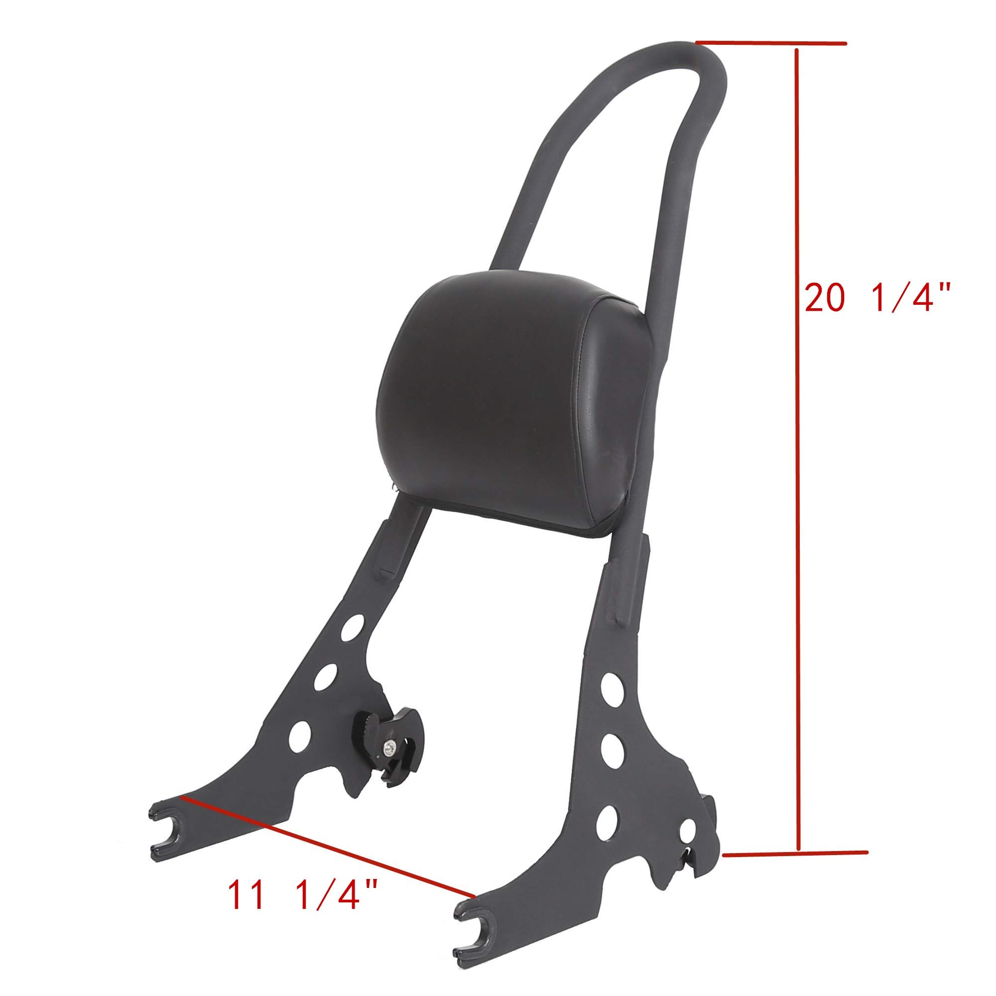 Passenger Backrest Pad Sissy Bar Cushion For Harley Sportster XL XLH 883 1200 Black by ECOTRIC
